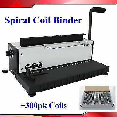 All Steel Metal Spiral Coil 34Holes Punching Binding Machine + 300 sheets coils