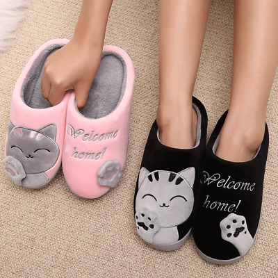 Women Winter Home Slippers Cartoon Cat Home Non-slip Soft Couple Floor Shoes New