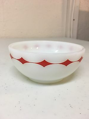 """Fire King Red Diamond Band 5"""" Cereal Soup Bowl Milk Glass"""