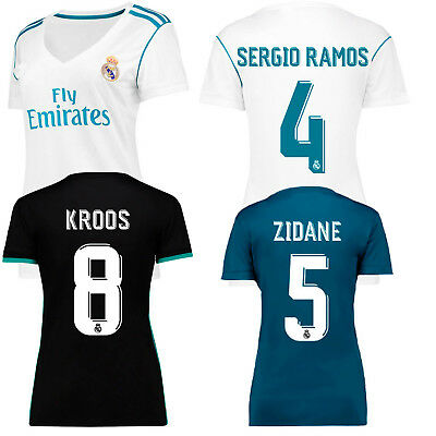 Women's Real Madrid home white soccer jersey female away black football shirts