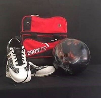 Ebonite Transport single roller bowling ball bag, ladies shoes and ball -package