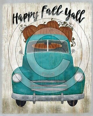 Primitive Folk Art  PRINT ONLY 8x10 - Happy Fall Yall Blue Truck Pumpkins