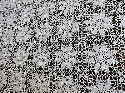 "Vintage hand crochet net lace Bed cover 82 "" X 60"" with floral pattern"