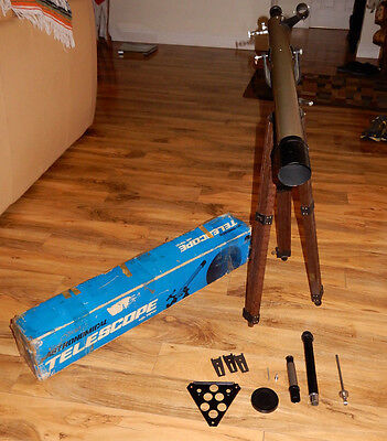 Vintage Selsi Astronamical Telescope With Wooden Tripod Stand & Original Box