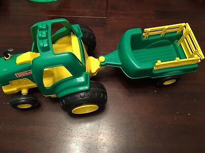Tonka Green Plastic Tractor Trailer Kids Toy Vintage  1992 Large