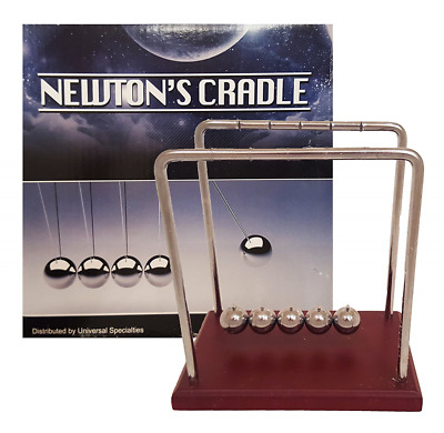Classic Newton's Cradle Extra Large 7 1/4 Inch Dark Brown Wooden Base Balance Ba