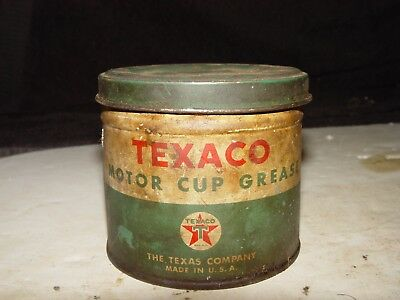 Estate Old Vintage Texaco Motor Cup Grease Advertising Tin Empty