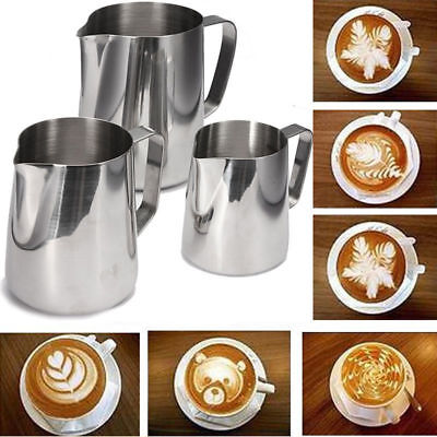 Stainless Steel Coffee Frothing Milk Latte Jug Coffee Foam Cup Pitcher 4 Size
