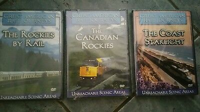 ❤️Set Great American Rail Journeys DVDs The Coast The Rockies By Rail + Canadian