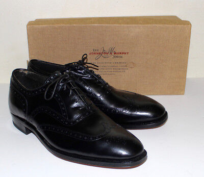 Johnston & Murphy Aristocrat black wing tip spectator shoes with box  9 D/B