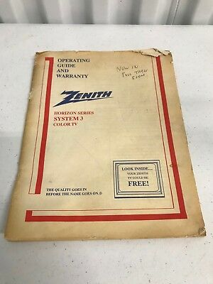 Zenith Color Tv Owners User Manual Operating Instructions Guide Horizon System 3
