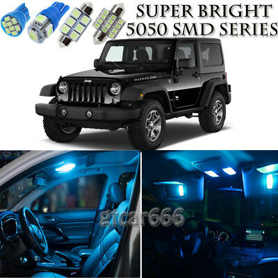 8pcs Ice Blue Led Interior Lights Bulb Package Kit For Jeep