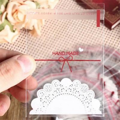 100pcs Party Bags Cello Clear Cellophane Loot Xmas Gift Candy Cookies Treat Bag