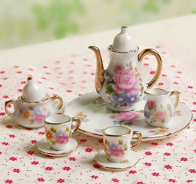 8pcs 1/6 Dollhouse Miniature Dining Ware Porcelain Dish/Cup/Plate Tea Set