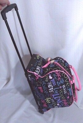Justice~Over Night~Travel~Dance~Tote Bag with Wheels & Extendable Handle ~GUC