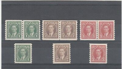 Canada 1937 Kgvi 1 X Sg368-Sg370 Imperf X Perf 8 Mint Coil Stamp Selection