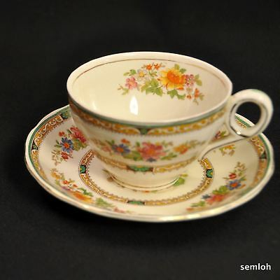 W.H. GRINDLEY CUP & SAUCER Creampetal Floral 1936-1954 Artist R. Granet w/GOLD