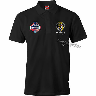 Richmond Tigers 2017 AFL Black Premiers Polo Shirt Sizes S-3XL P2