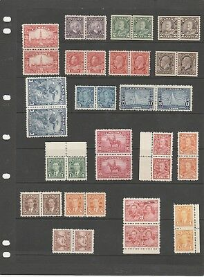 Canada 1927 Onwards Just A Selection Of Lovely Mint Stamps In Pairs Mnh/mh