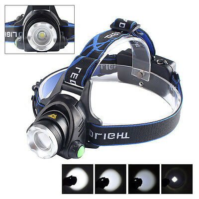 T6 6000Lm Zoomable CREE XML LED Rechargeable Head Torch Headlamp Headlight 18650
