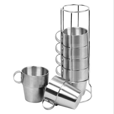 6Pcs Stainless Steel Coffee Mug Tea Cup Set & Rack Picnic Camping Double Walled