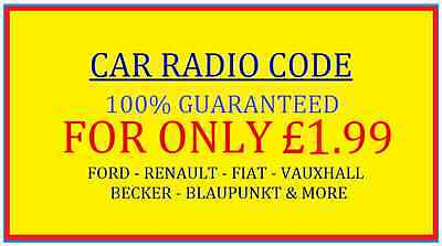 Car Radio Code Decode, Ford, Renault, Fiat ...same Day Service!