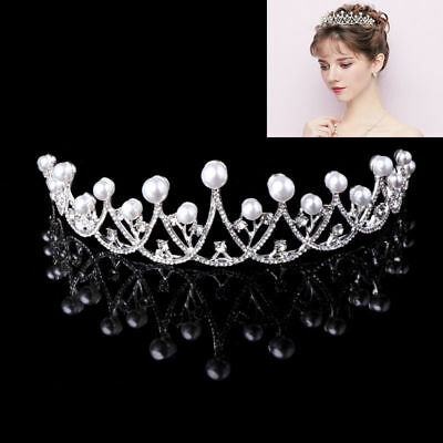 Shiny Faux Pearl Princess Tiara Crown Rhinestone Headband Bridal Prom Wedding
