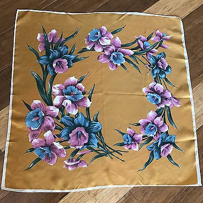 Authentic Vintage Ladies Scarf 70cm x 70cm - Mustard Colour With Pink Floral