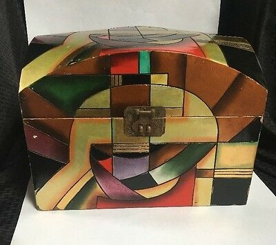 Vtg Alexander Kalifano Wooden Chest Art Deco Gold Leaf Geometric Box FINAL SALE*
