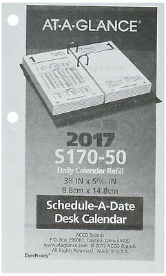 "AT-A-GLANCE Daily Desk Calendar Refill, January 2018 - December 2018, 3-1/2"" x 6"