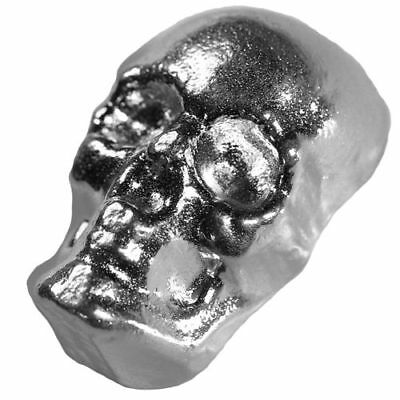 "3-D "" SKULL ""  1 troy oz .999 solid silver bullion hand poured, each one unique"