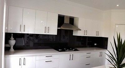 Attractive Toughened Black Glass Kitchen Splashback 590 x 860 x 4mm