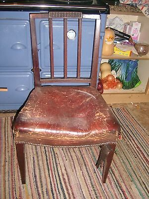 Antique Chair with vintage leather seat needing repair