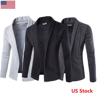 US Men's Casual Slim Fit Knit V-Neck Cardigan Stylish Sweater Coat Jacket Tops