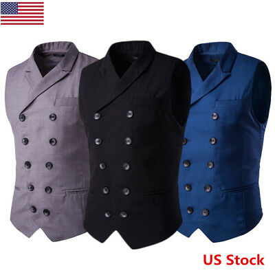 US Men's Formal Business Casual Dress Vest Suit Slim Fit Tuxedo Waistcoat Coat