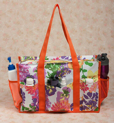 New Zip Top Floral Organizing Utility Tote Bag Oil Cloth