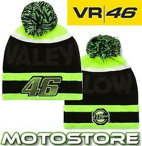 Vr46 Valentino Rossi Official Beanie Bobble Hat Vale Yellow Black Genuine 2017