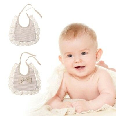 Newborn Girls Baby Round Solid Color Lace Hem Bowknot Saliva Towel Feeding Bib