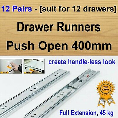 12 Pairs Push Open Cabinet Cupboard Kitchen Vanity Drawer Runners / Slides 400mm