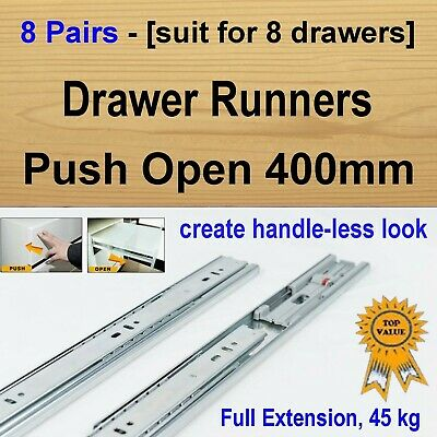 8 Pairs Push Open Cabinet Cupboard Kitchen Vanity Drawer Runners / Slides 400mm