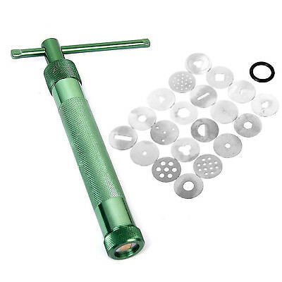 lieomo Green Sculpting Clay Extruder Syringe Metal steel Gun Tool With 20 Discs