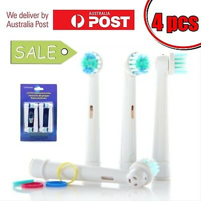 4 x ORAL B compatible electric toothbrush head replacement heads FLEXISOFT clean