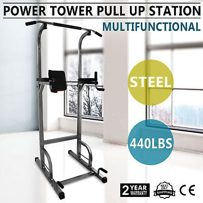 Power Tower 770lb Height Adjustable Station Chin Up Push Up Workout Strength