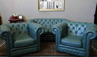 Stunning Rare Green 3 Piece Chesterfield Sofa Couch Lounge Suite Wing Chairs