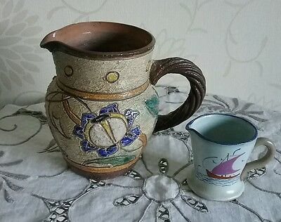 Pair of  Jugs Honiton Pottery Collard Sailing boats Rustic