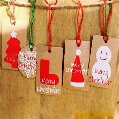 50Pcs Christmas Craft Paper Tags Gifts Price Wedding Scallop Label Blank Luggage