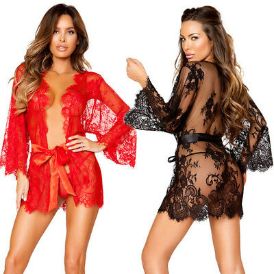 AU Sexy Women Lingerie Lace Dress Bath Robe Gown Babydoll Nightwear Sleepwear BG