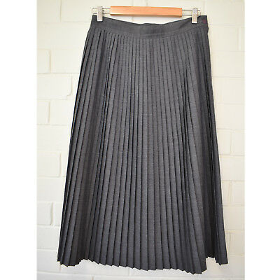 Vintage Katies Grey Pleated Midi Skirt Size 10 pleats