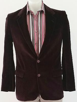 Mens Vintage 80s Facis Sport Italy DARK BROWN Velour Casual Sports Jacket size S