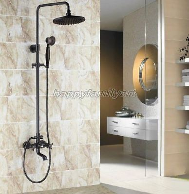 Black Oil Rubbed Brass Bathroom Round Rain Shower Faucet Set Tub Tap yrs381